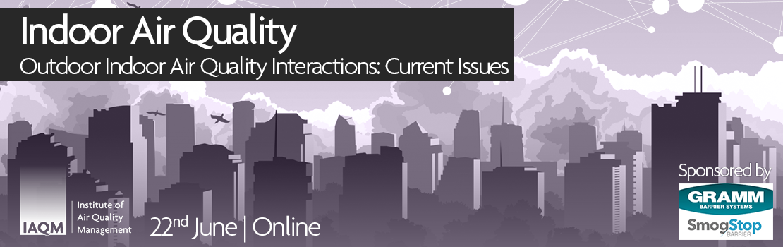 Image of purple cityscape, overlaid text reads; Indoor Air Quality conference, 22nd June, online