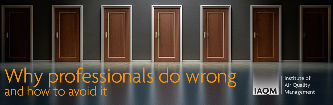 Image of a row of doors. Overlay text reads; Why professionals do wrong and how to avoid it